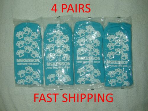 4 Pair McKesson Slipper Hospital Socks One Size Fits Most Teal Above the Ankle