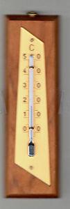 Uralt, trotzdem OVP Zimmer thermometer 14 cm,  Kirsch-Massivh<wbr/>olz, analog
