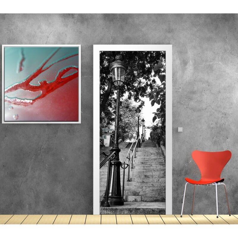 Papier peint porte rue Paris escalier 831