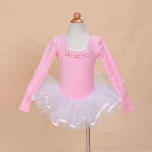 Image Is Loading New Girls Long Sleeve Pink Ballet Dress Dance