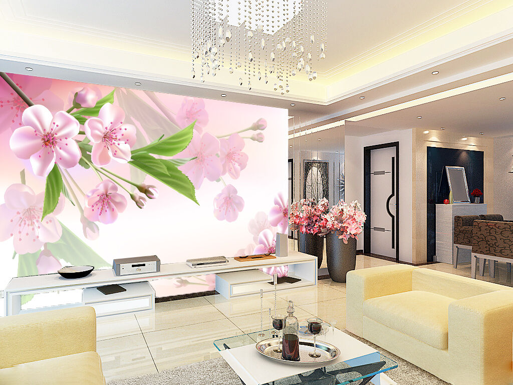 3D Pretty Peach Flowers 05 Paper Wall Print Wall Decal Wall Deco Indoor Murals