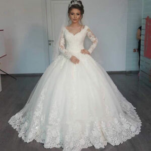 Details about White Ivory Lace Long Sleeve Wedding Dress Ball Gown Bridal  Gown Plus Size 2-22