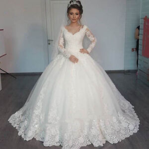 White ivory lace long sleeve wedding dress ball gown bridal gown image is loading white ivory lace long sleeve wedding dress ball junglespirit Choice Image