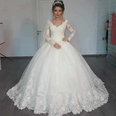White Ivory Lace Long Sleeve Wedding Dress Ball Gown Bridal Gown Plus Size  2-22 | eBay