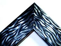 """2"""" Wide Black Pearl Wave Wood Canvas Picture Frame-Custom Made Standard Sizes"""