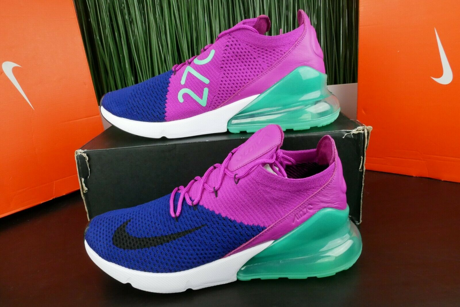 New Nike Air Max 270 Flyknit Royal blueee Fuchsia AO1023-401 Running shoes Size 11