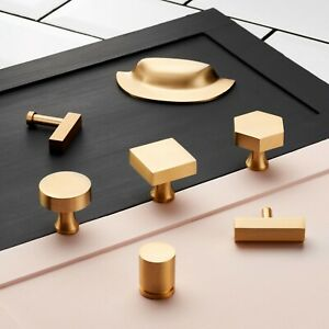 Contemporary-Modern-Brass-Gold-Cupboard-Drawer-Cabinet-Door-Knobs-Handles-Pulls