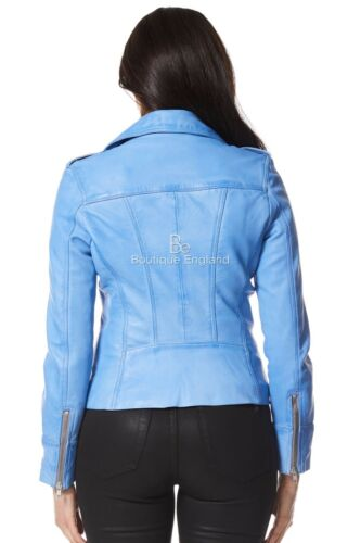 Italian Leather Style Biker Blue Crust Jacket Ladies Rider Motorcycle Real 9823 xwCqUAH08
