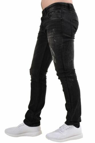 Men Skinny Ripped Jeans Slim Fit Cotton Stretch Denim Trousers Pants Waist 28-40