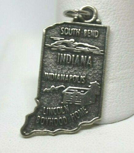Indiana Charm Bracelet  Sterling Embossed State Historic Scenes ~Rare Americana Collectable  Vintage 1960s ~Heritage Signed /& Hallmarked