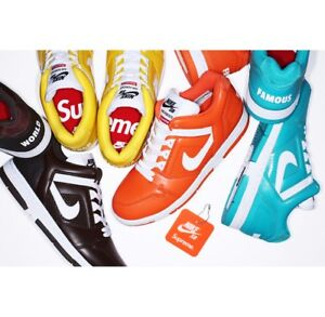 SUPREME x Nike SB Air Force 2 Brown Teal Orange box logo camp cap ... 70a75b1a7