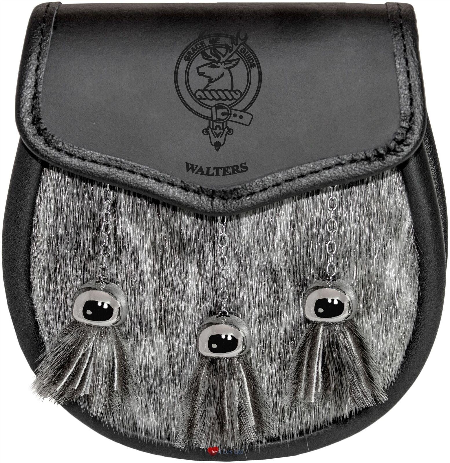 Walters Semi Dress Sporran Fur Plain Leather Flap Scottish Clan Crest