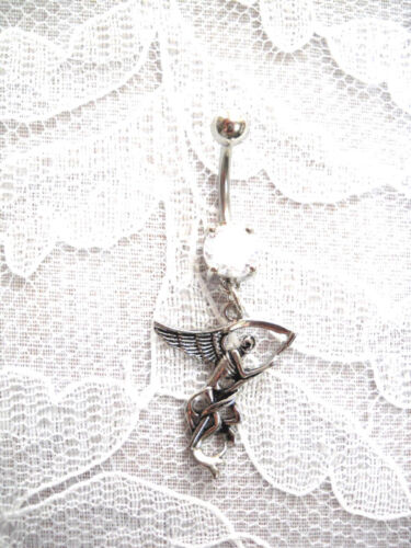 NEW DARK ANGEL OF DEATH GRIM REAPER 14g CLEAR CZ NAVEL BELLY RING BARBELL