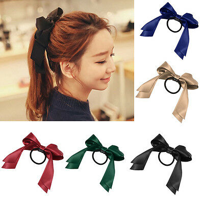 HOT Women Multicolor Satin Ribbon Bow Hair Band Rope Scrunchie Ponytail Holder