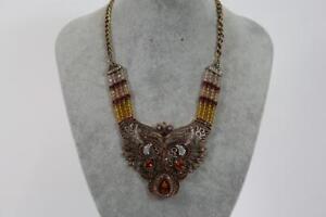 Grosses-Prunk-Collier-Halskette-Schmuckmetall-Steinbesatz-Art-Deco-Stil