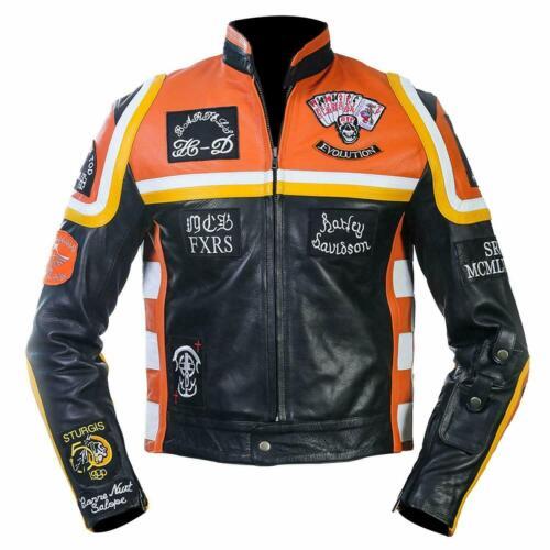 Mickey Rourke Marlboro Vintage Biker Cow Hide Motorcycle Jacket Free Shipping