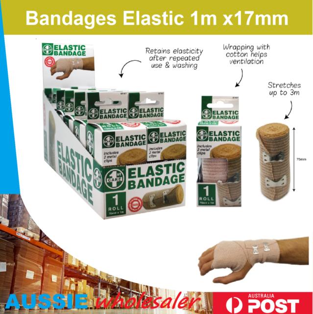 6x Bandages Elastic 1m x17mm MEDICREPE RETENTION COMPRESSED CREPE HEAVY DUTY