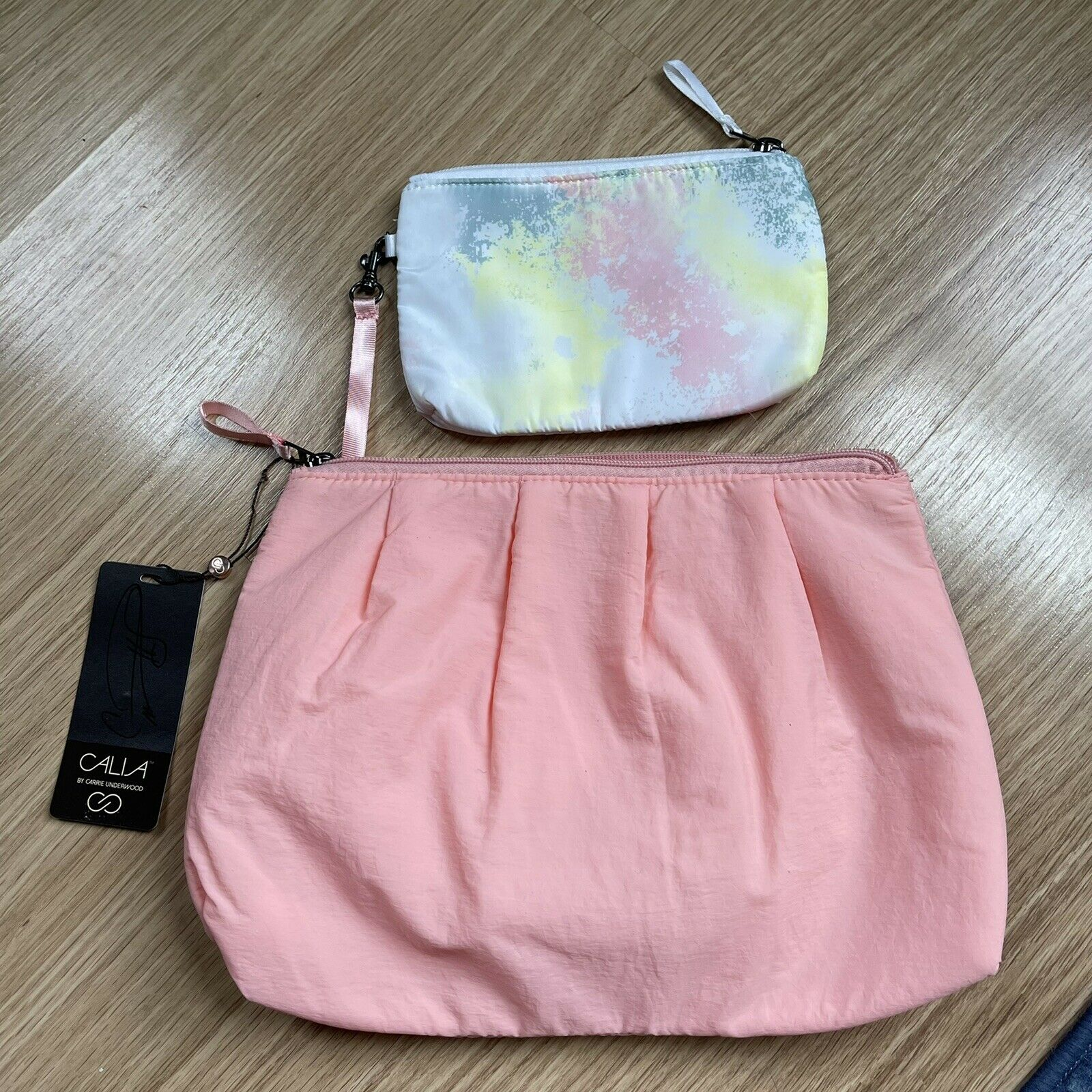 NEW WITH TAGS CALIA TRAVEL POUCH SET SUGAR ROSE WITH SMALL TIE DYE POUCH INSIDE