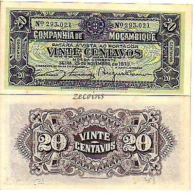 "1933 Banknote 20 Centavos ""canceled"" Unc Quality And Quantity Assured Frank Mosambik/mozambique"