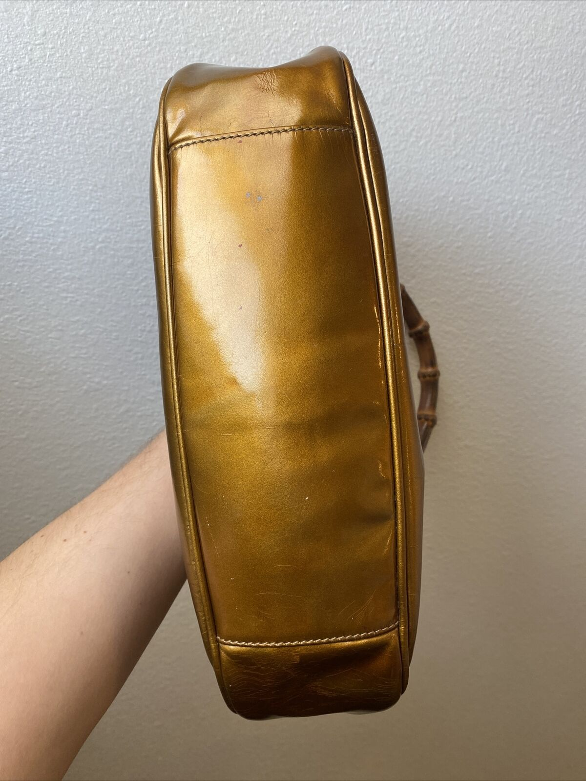 GUCCI COPPER BAMBOO HANDLE BAG VINTAGE DIANA LEAT… - image 7