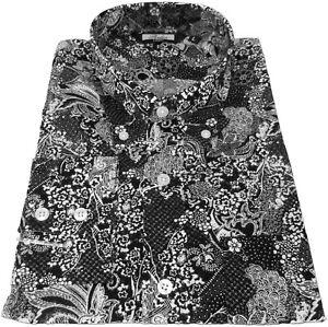 ee9f55a4ac Dark Navy White Floral Dot Men's Button Down Shirt 100% Cotton Relco ...