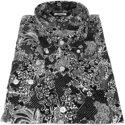 Dark Navy White Floral Dot Men/'s Button Down Shirt 100/% Cotton  Relco NEW!