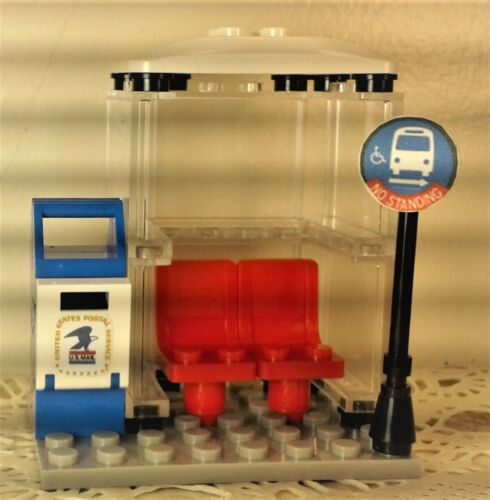 Lego TOWN//VILLAGE City Square Center TRAM STATION BUS STOP Post Box CUSTOM