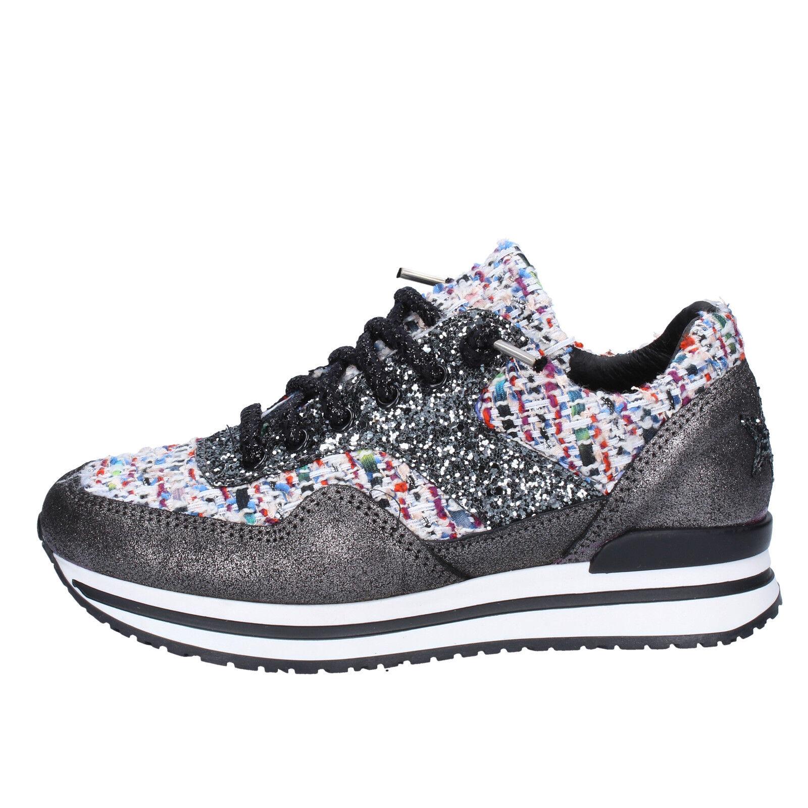 scarpe donna sneakers 2 STAR GOLD 35 sneakers donna nero multicolor tessuto glitter BX33-35 9636b9