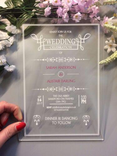 Vintage Border Acrylic Printed Wedding Invitations Invites Pack of 10