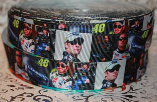 """7//8/"""" JIMMY JOHNSON #48 LOWES NASCAR INSPIRED GROSGRAIN RIBBON BOWS DECORATIONS"""