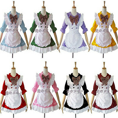 New Cosplay Costume Pink Ruffle sexy servant Maid Outfits Party Dress Set apron