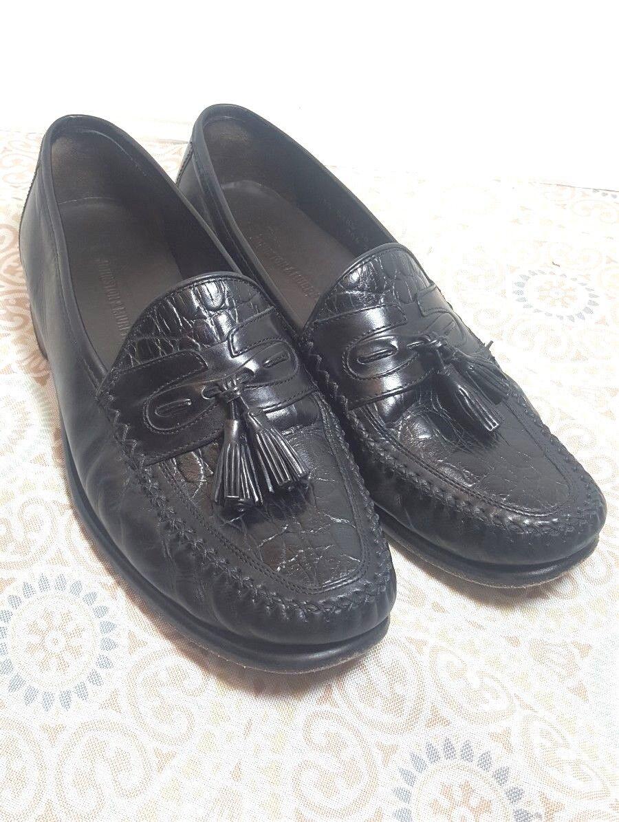 Johnston Murphy Cellini Gator Croc Print Tassel Loafer shoes Men's Sz 10 M