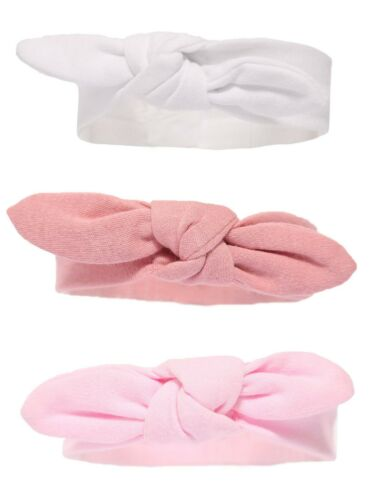 Baby /'Knotty/' BOW WHITE ROSE PINK Headband 0-6 MONTHS