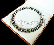 """14 mm Black Rainbow & Color South Sea shell Pearl Necklace 18"""""""