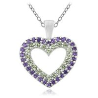 """925 Sterling Silver 1/2ct Amethyst & Peridot Heart Necklace, 18"""""""