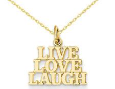14k Yellow Gold Live Love Laugh Circle Charm Pendant 22mmx14mm