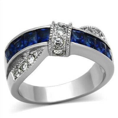 Blue & Clear CZ Stainless Steel Fashion Ring 1.75 CT