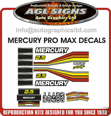 Mercury Promax Racing Reproduction Outboard Decal Kit  2.5
