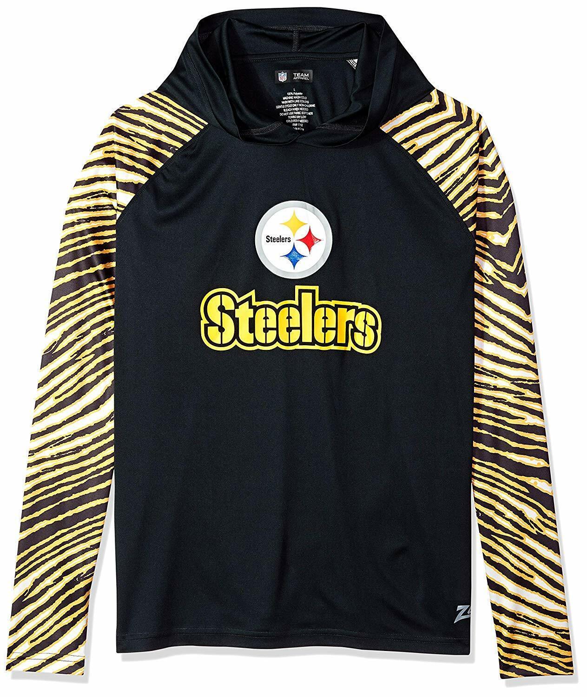 Zubaz NFL Men's Pittsburgh Steelers Light Weight Zebra Hoodie