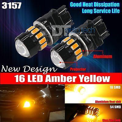 2X 3157 High Power 5630 Chip LED Amber Yellow Turn Signal Light Bulbs
