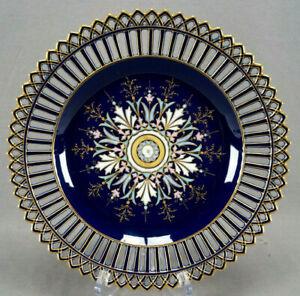 German-Burley-amp-Co-Art-Nouveau-Floral-Enamel-Cobalt-amp-Gold-Reticulated-Charger