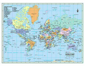World Wall Map Political Poster 22 X17 Large Print Rolled Paper