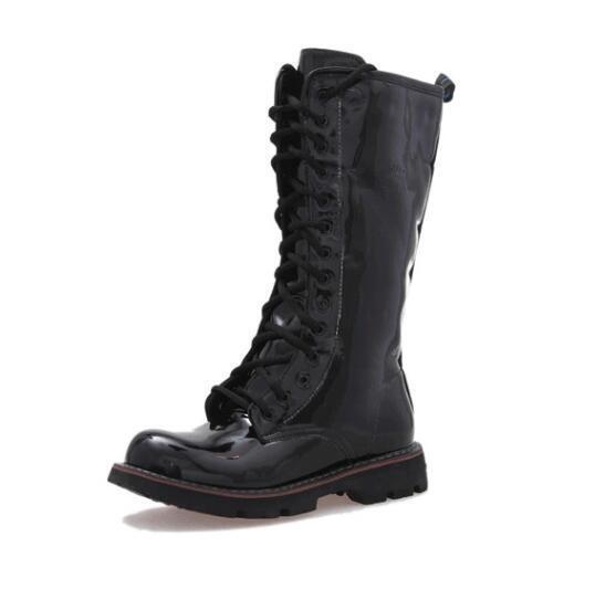 Neu Neu Neu PU Lackleder Herren Mode Ritterstiefel High Top Schuhe Stiefel Gr.38-45 b76cfe