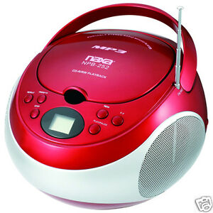 NAXA-Electronics-Portable-MP3-CD-Player-with-AM-FM-Stereo-Radio-Red-NEW