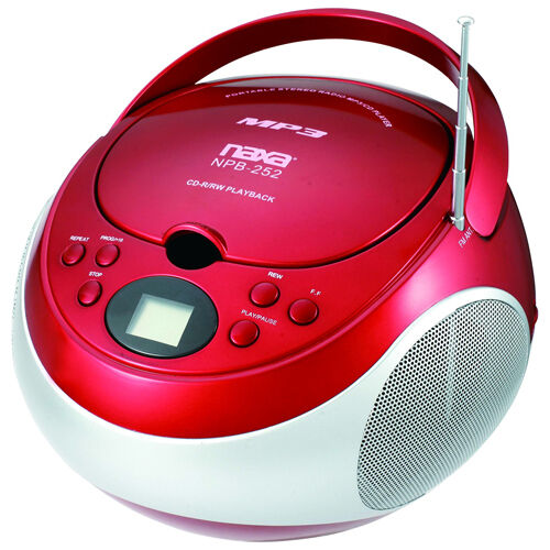 NEW Red NAXA Electronics Portable MP3//CD Player with AM//FM Stereo Radio