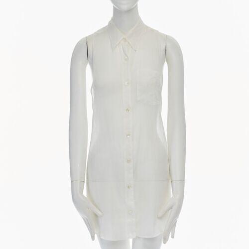 DRIES VAN NOTEN cotton silk sheer sleeveless blou… - image 1