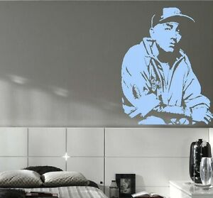 LARGE EMINEM BEDROOM KITCHEN WALL MURAL ART STICKER STENCIL DECAL ...
