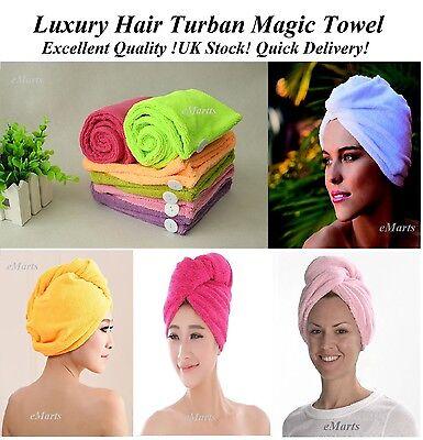 LARGE QUICK DRY MAGIC HAIR TURBAN TOWEL MICROFIBRE HAIR WRAP BATH TOWEL CAP HAT
