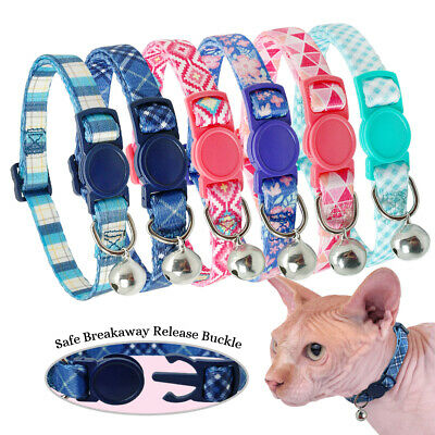 5pcs//lot Suede Puppy Dog Kitten Breakaway Safety Cat Collars Bell Quick Release