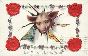 1925-GERMAN-LUCKY-PIG-RED-CLOVER-SEALS-POSTCARD-sent-from-Magdeburg-Magdeburg
